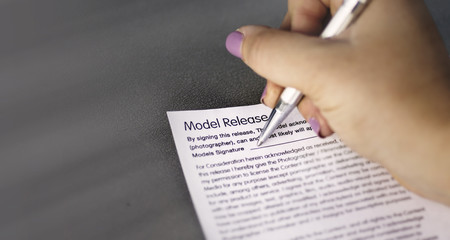 Signing a model release form
