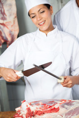Female Butcher Sharpening Knife