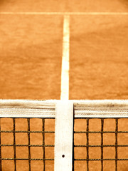 tennis court with line and net  125