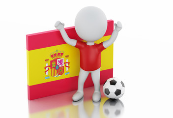3d white people with Spain flag and soccer ball.
