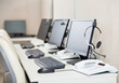 Computers With Headphones At Workplace - 81966870