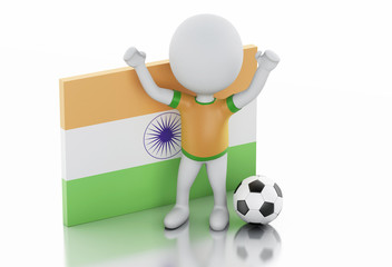 3d white people with India flag and soccer ball.
