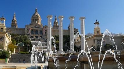 View of Catalunya National Museum of Art. Barcelona, Spain. Slow