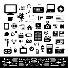 media and technology icon set