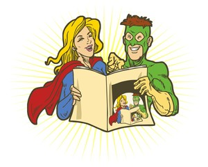 read comics character image vector