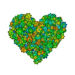 Abstract heart made of green flowers.