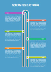 Workday. Business timeline infographic template.