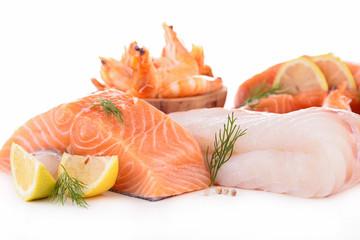 raw fish on white