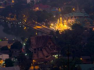 Wat Jong Klang from bird eye view, during dark night period, pre