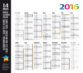 Calendrier 2016 / 14 mois - MODIFIABLE