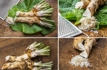 a grated horseradish on a kitchen table