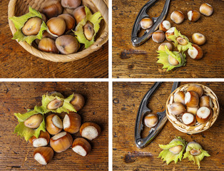 hazel nuts on a wooden background