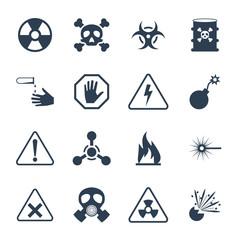 Vector hazard and danger icon set