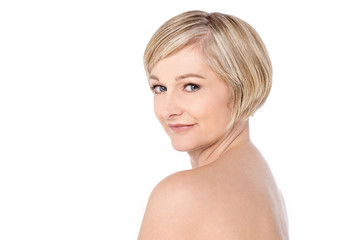 Bare shoulder woman over white