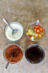 Thai seasoning on wood table