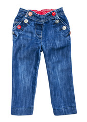 baby blue jeans with multi-colored buttons on an isolated white