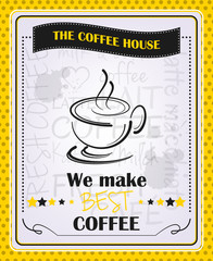 Coffee menu vector poster design in vintage style