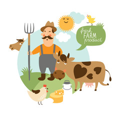 Vector illustration. Farmer , cattle farm ,fresh natural product