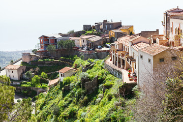 houses in mountain village Savoca in Sicily