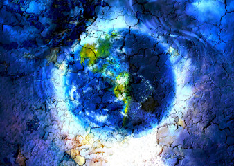 Painting planet Earth in outer space. with structure crackle
