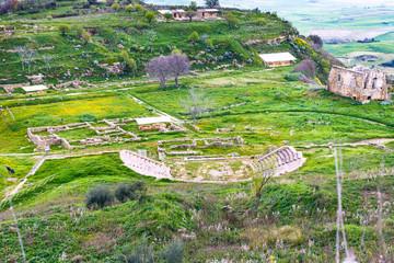 ancient greek theater in Morgantina area, Sicily