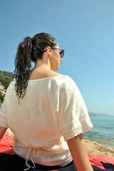 Latin woman in the sea