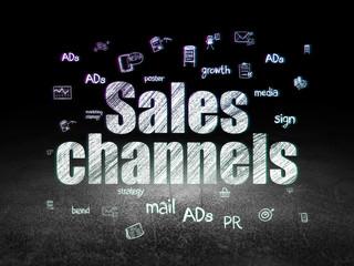 Advertising concept: Sales Channels in grunge dark room