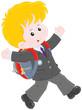 schoolboy with his schoolbag