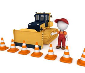 Yellow bulldozer near traffic cones.