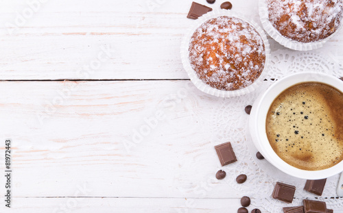 Coffee cup with a cake . Background.