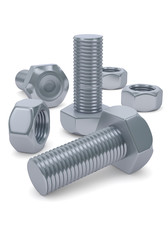 Bolts and nuts isolated