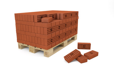 Red bricks stacked on wooden pallet
