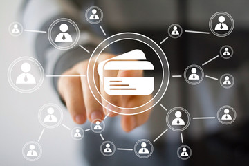 Business button credit card icon web sign