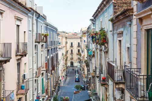 In de dag Milan residential street in Catania city, Sicily
