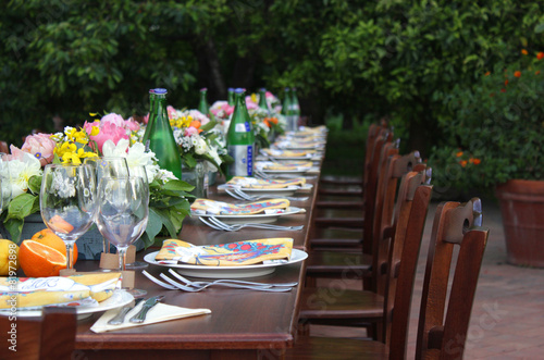 Staande foto Boord Wedding table on nature