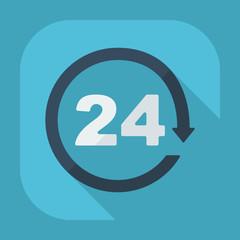 Flat modern symbol 24 hours, around the clock