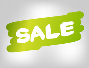 Sale on green brush style stain isolated on gray background.