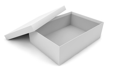 white empty opened cardboard box