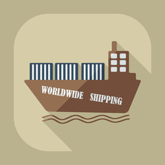 Flat modern design with shadow icons ship delivery