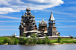 canvas print picture - Wooden churches on island Kizhi on lake Onega, Russia
