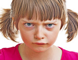 Fototapety angry little girl on white background