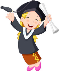 A young graduate girl holding certificate with cheerful smile