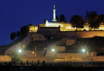 Evening view on the Kalemegdan fortress and Statue of the Victor