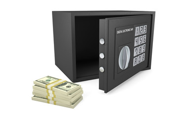Open electronic safe with stack of money isolated on white