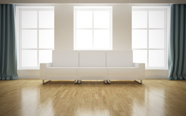 Modern bright interior with white sofa background