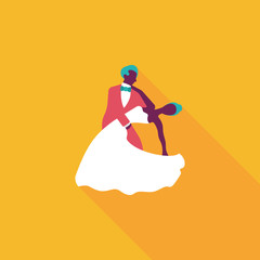 wedding couple flat icon with long shadow,eps10