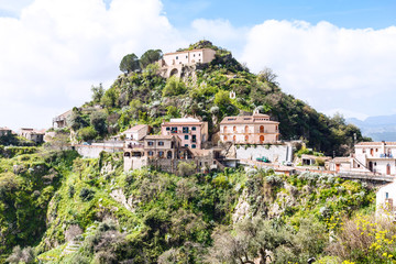 houses on top of mountain in town Savoca, Sicily