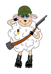 Sheep in a helmet and with gun Vector character
