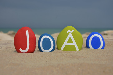 João, masculine name on colored stones