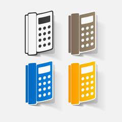 Paper clipped sticker: landline phone